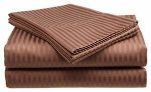 King-Size-Coffee-400-Thread-Count-100-Cotton-Sateen-Dobby-Stripe-Sheet-Set
