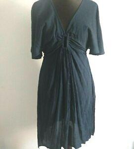 Bnwt m&s Sammlung BEACHWEAR Navy V-Ausschnitt Strand Knielang Kleid Größe 14/20/22