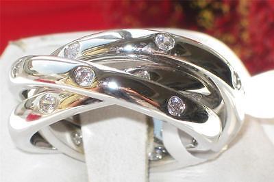 3W101PB INTERLOCKING RUSSIAN WEDDING BAND 3RINGS SIMULATED DIAMONDS STUDDED