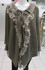 Genuine Fur Poncho Fits XL 1X 2X 3X 4X Plus Light Brown Cape Sleeve Cuff NWT
