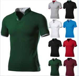 New-Vogue-Men-039-s-Stylish-Casual-T-Shirts-Slim-Fit-Short-Sleeve-POL-Shirt-Tops