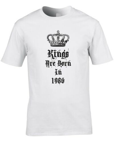 Kings Are Born In 1986 Mens T-Shirt 34th Thirty Four Birthday Gift Idea Royal