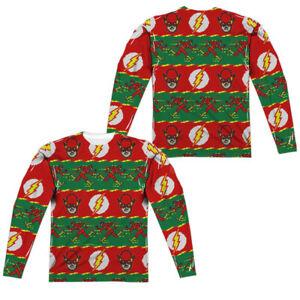 The Flash Ugly Christmas Sweater Print 2 Sided Long Sleeve Poly T