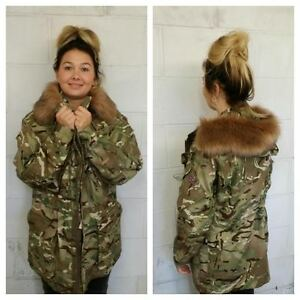LADIES CAMOUFLAGE ARMY JACKET - FUR HOOD - VINTAGE FASHION - WOMEN S ... f0e0a10431d