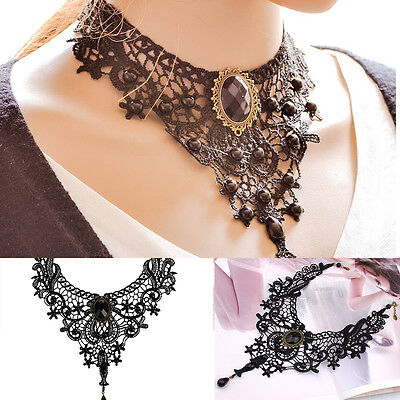 Women/'s Red Lace Necklace Beads Choker Victorian Steampunk Style Gothic Collar