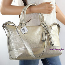 NWT Coach Molly Metallic Leather East West Satchel Shoulder Bag 21133 Gold RARE