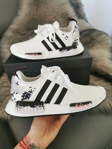 Adidas Nmd R1 White Black Graffiti Athletic Shoes Size Womens 7