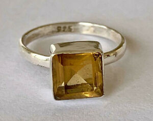 925 Sterling Silver Citrine Ring Square Emerald Cut Solitaire Sz 5678 9 10 11 12