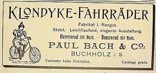 "KLONDYKE-FAHRRÃ""DER Paul Bach & Co, Buchholz Originalwerbung Inserat 1898"