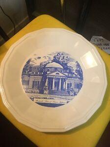 Monticello Home of Thomas Jefferson Plate Blue White  Homer Laughlin Conrad 1976