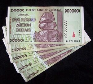 500 x Zimbabwe 200 Million Dollar banknotes 2008 AA only 5 currency bundles