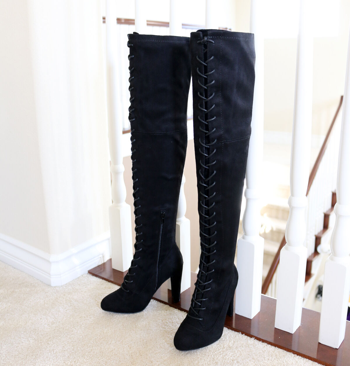 Lace Up Stretch Suede  3.75 in. Covered Thick Heel  Over The Knee High Boots BLK