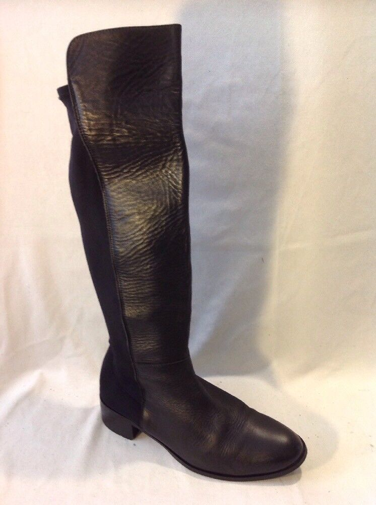 Ladies Black Knee High Leather Boots Size 39