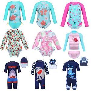 Kids-Boys-Girls-Long-Sleeve-Rash-Guard-Swimsuit-Swimwear-Beach-Swimming-Costume