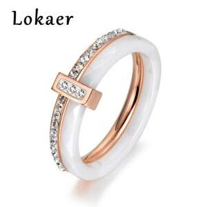Damen-Ring-Frauen-Dame-Kristall-Keramik-Ring-Rose-Gold-Silber-Freundschaftsring