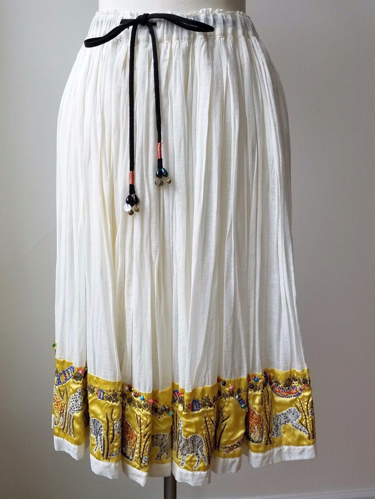 Etro Cream gul MultiFärg Linen & Silk Blend Bead Broderöd kjol  3000