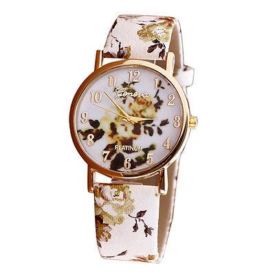 HOT Geneva Womens Watches Flower Fashion Leather Analog Quartz Vogue Wrist Watch