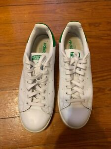 sale retailer 71b83 d896c Details about Adidas Stan Smith Sneakers 11 Green White Tennis Shoes Used