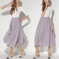 New Womens Ladies Pleated Chiffon Maxi Skirt Boho Retro High Waisted Long Dress