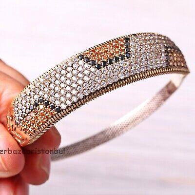 Gemstone bangle Open cuff bangle Pink quartz slip on bangle 18kt Gold Plated Sterling Silver cuff bangle Black onyx cuff bangle