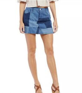 Gianni-Bini-Womens-Blue-Denim-Patch-Work-Pieces-Craig-Mini-Skirt-Size-Large-NWT