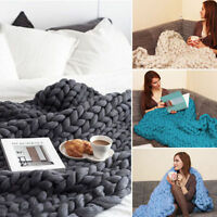 Soft Warm Hand Chunky Knitted Merino Wool Blanket Sofa Thick Yarn Bulky Throw