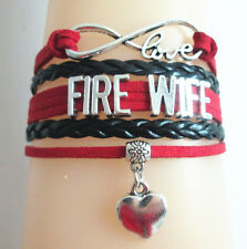 Infinity Love FIRE WIFE With HEART Charms Leather Braided Bracelet - red/black