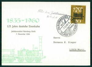 Discret Rfa Mk 1960 Chemin De Fer Nuremberg-fürth Maximum Carte Carte Maximum Card Mc Cm Ei71-afficher Le Titre D'origine