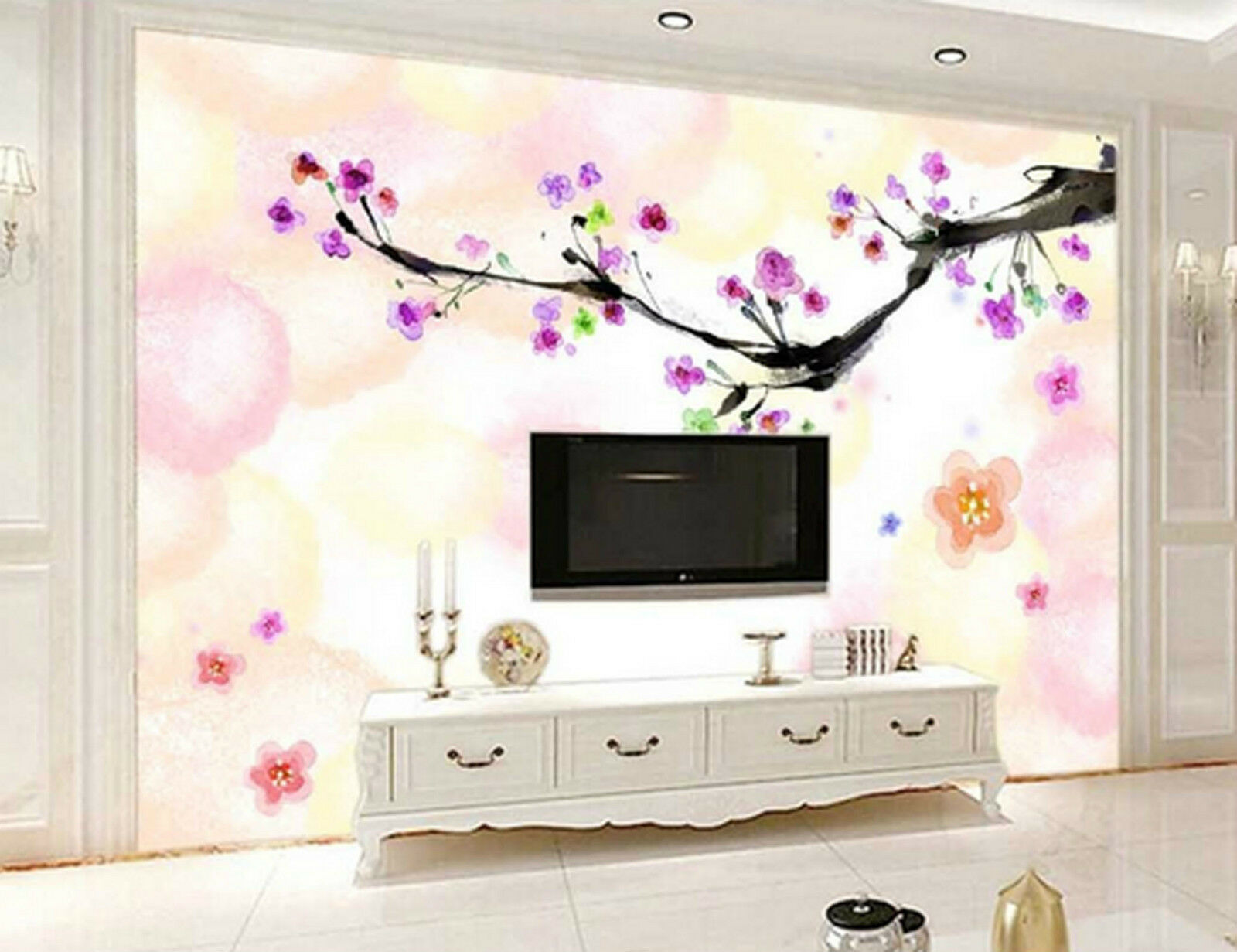 3D Gorgeous Flowers Branch 7254 Wall Paper Wall Print Decal Wall AJ WALLPAPER CA