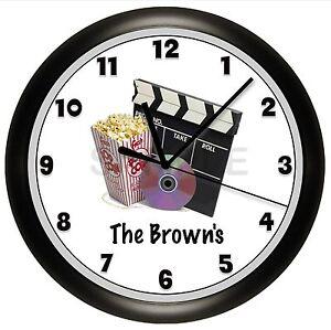 home theater clock wall movie night customized
