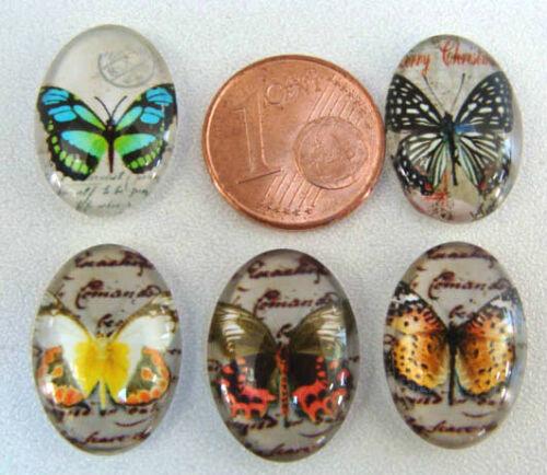 5 CABOCHONS ovales 18x13 verre MOTIFS PAPILLONS perles DIY création bijoux