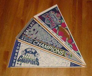3-1993-Dallas-Cowboys-Super-Bowl-28-pennants-lot-SB-XXVIII-Troy-Aikman-Emmitt