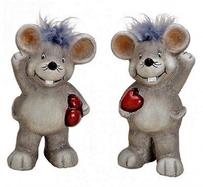 Maus mit Herz 2-er-Set 2 x ca.7 x 11cm in Grau Dekofiguren Dekoration Nostalgie