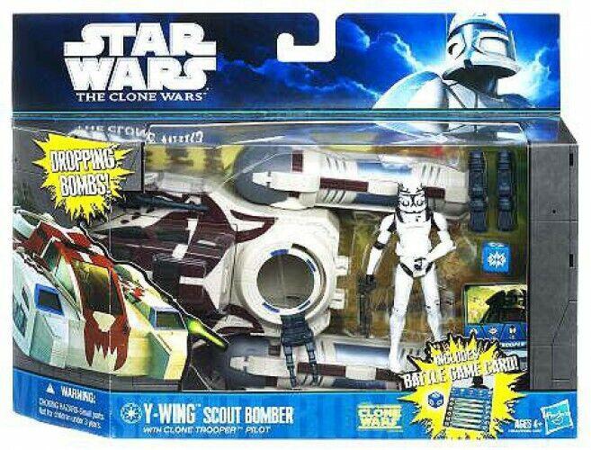 estrella guerras YWing Scout Bomber with Clone Trooper Pilot Vehicle e azione cifra