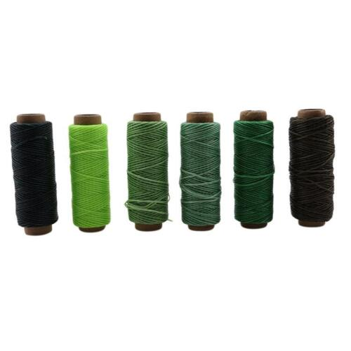 6 Colors 50M Leather Sewing Flat Waxed Thread String DIY Stitching Craft FI