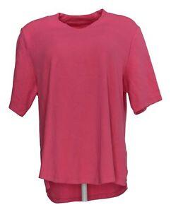 Isaac-Mizrahi-Live-Women-039-s-Sz-XL-V-Neck-Elbow-Sleeve-Tunic-Pink-A289635