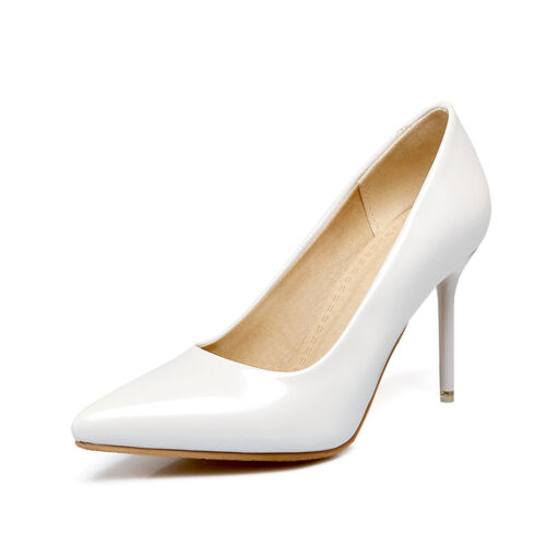Ladies Pointed Toes Shoes Synthetic Leather High Heels Party Pumps UK Size S007