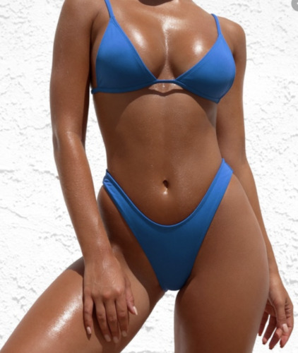 Minimale Animale Swimsuit Blue Thong - Top XS: Bot
