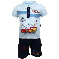 Vêtement Ensemble Polo + Short Cars 3 Mois Blanc Et Bleu / Bébé Garçon Neuf