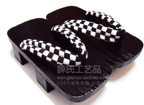 High-heeled Cosplay Japanese Printing Black Bottom Yukata kimono Geta Sandal