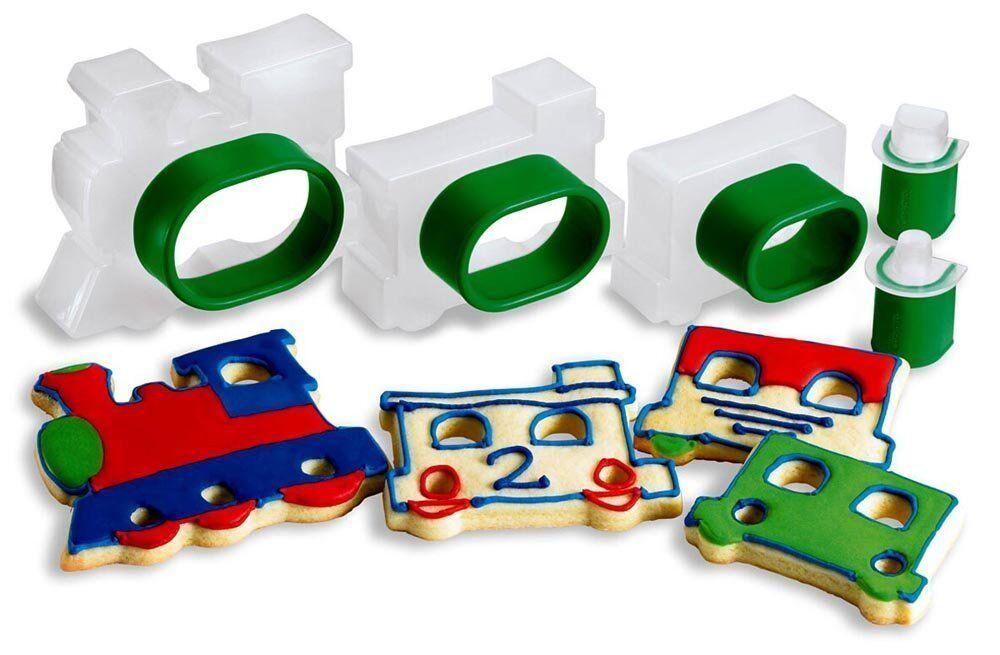 Train Cookie Cutters Case Lot 12 ensembles  Snap-Fit 5 pièces train Formes nouvelles