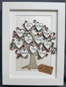 Details about 9th Wedding Anniversary Gift - Personalised Family Tree  Frame, Ruby, Fortieth