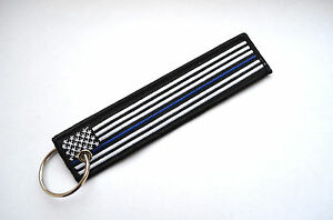 Police Blueline Flag Keychain Motorcycle Key Tag Law Enforcement-Fr<wbr/>ee Shipping