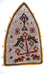 Vintage-Rare-Hand-Embroidery-Work-Kutch-Heavy-Beaded-Wall-Hanging-Decor-i17-349
