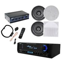 Pyle Kthsp690s 4 Pairs Of 200w 6.5 In-ceiling Speakers, 300w Receiver/amplifier on Sale