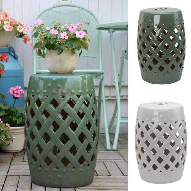 Pleasant 13 Ceramic Indoor Outdoor Patio Lattice Garden Stool End Table Garden Decor Machost Co Dining Chair Design Ideas Machostcouk