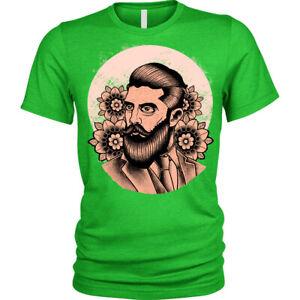 Beard-Pomade-T-Shirt-flowers-Hipster-gentleman-salon-barber-Unisex-Mens