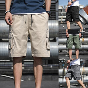 Men-Summer-Short-Cargo-Pant-Cotton-Loose-Solid-Youth-Casual-Shorts-Overalls-M-5X