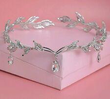 Crystal Crown Bridal Hair Accessory Wedding Rhinestone Waterdrop Leaf Tiara