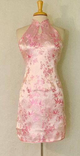 Sleeveless Chinese Short Cheongsam Qipao Dress wth bamboo and plum flower prints